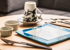 A variety of custom tableware from traditional Kyoto craftspeople