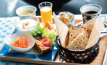 Breakfast served with tableware typical of Kyoto Bringing you a new discovery that stimulates your mind